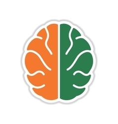 Paper sticker on white background human brain vector