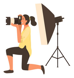 Photographing with flash light camera vector