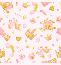 Princess party items seamless pattern vector