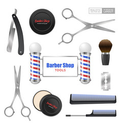 Realistic barber shop accessories set vector