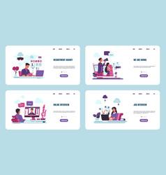 Recruitment landing page website interfaces vector
