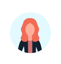 redhead woman avatar isolated faceless female vector image