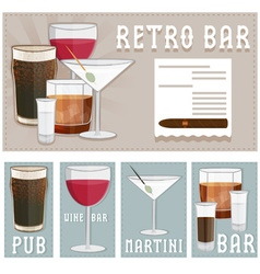 Retro poster of bar with glasses of different vector