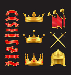 ribbon and crowns swords set vector image