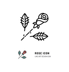 Rose icon flower rose logo line art design vector