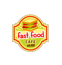 Sandwich burger fast food cafe icon vector