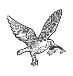seagull cormorant with fish in beak sketch vector image