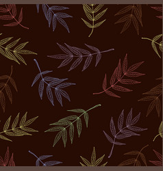 seamless pattern of leaves mountain ash in pastel vector image