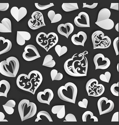 seamless pattern paper hearts vector image