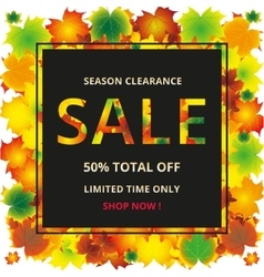 Seasonal autumn sales background with colored vector