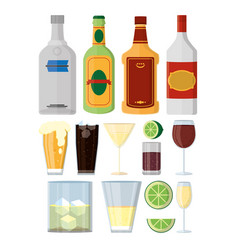Set of alcohol drinks vector