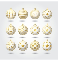 set white and gold christmas balls vector - White And Gold Christmas Ornaments