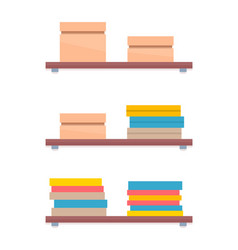shelves in women shopping store boxes with apparel vector image