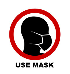 silhouette head with medical mask on face vector image