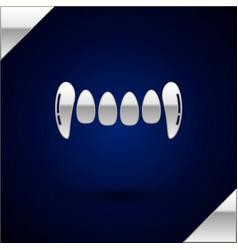 Silver vampire teeth icon isolated on dark blue vector