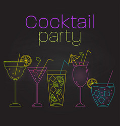simple line style cocktails on black background vector image