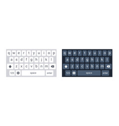 smartphone keyboard in light and dark mode keypad vector image