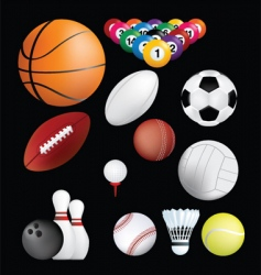 sports balls on black vector image