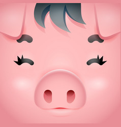 swine cute pig square cartoon character face vector image
