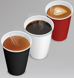 Tea cappuccino coffee in paper cups vector