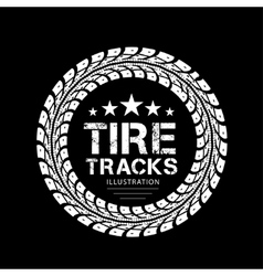 Tire tracks on black background vector image