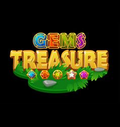 treasures and gems on an isometric grass platform vector image