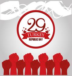 Turkey republic day red raised hands memorial vector