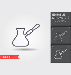 turkish coffee pot with handle line icon with vector image