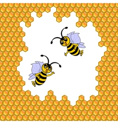 Two funny cartoon bees surrounded by honeycombs vector image