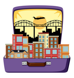 urban city on suitcase vector image