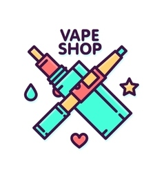Vape shop electronic cigarette logo vector