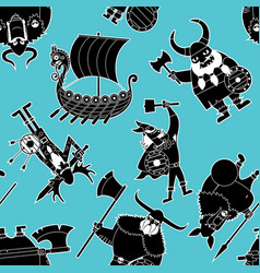 Viking silhouettes pattern vector