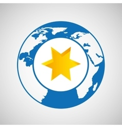 weather forecast globe star icon graphic vector image