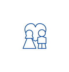 wedding couple with love in heart line icon vector image