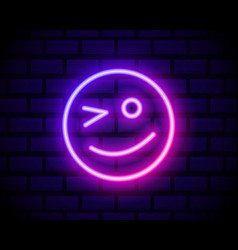 Winking face neon icon simple thin line outline vector