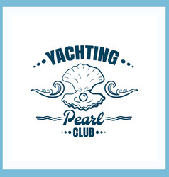 Yachting club pearl badge vector