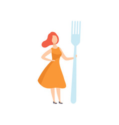 Young woman standing with a giant fork faceless vector