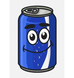 Blue cartoon soda or soft drink can vector image vector image