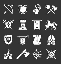 knight medieval icons set grey vector image