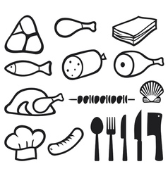 meat icons set with dining services vector image