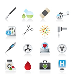 Medicine and hospital equipment icons vector image vector image