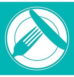 Plate knife and fork Restaurant menu design vector image