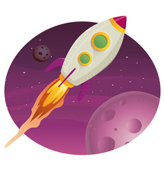 rocket ship flying in space vector image