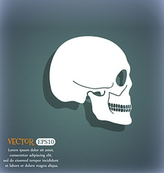 Skull icon On the blue-green abstract background vector image