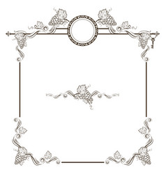 vintage frame with grapes vector image
