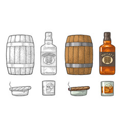 whiskey glass with ice cubes barrel bottle and vector image vector image