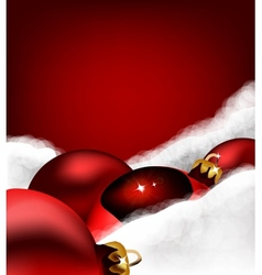 Xmas greeting card christmas toy on cotton wool vector