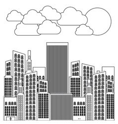 figure city builds with clouds and sun vector image vector image
