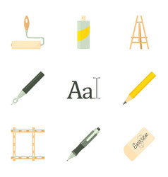Artist equipment icons set cartoon style vector