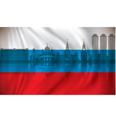 flag of russia with moscow skyline vector image vector image